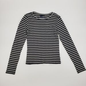 American Eagle Navy & White Striped Crop Top S